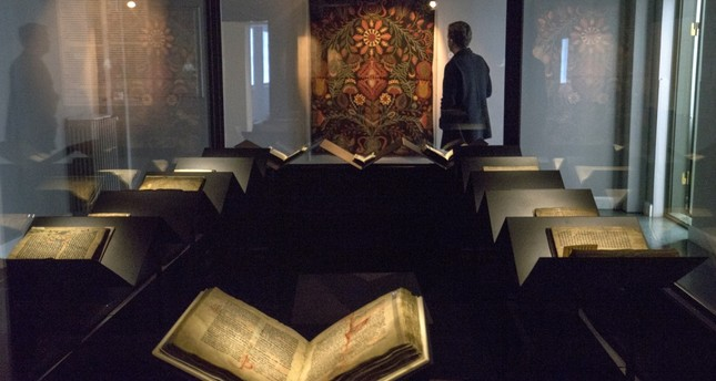 A law book penned on calf-skin in 1363 is displayed at a museum in Reykjavik.