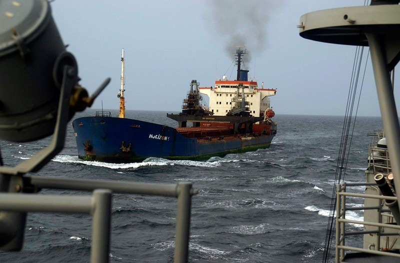Turkish bulk carrier Horizon-1 is escorted by Turkish Navy frigate Gediz after was released by pirates in the Gulf of Aden, Oct. 6, 2009. (Turkish Chief of Staff via Reuters)