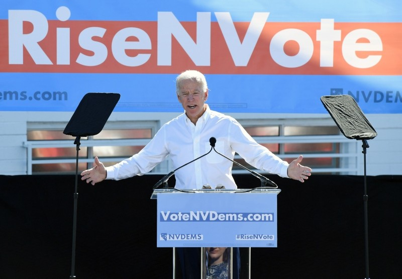 Former U.S. Vice President Joe Biden speaks during a rally at the Culinary Workers Union Hall Local 226 as he campaigns for Nevada Democratic candidates. (AFP Photo)