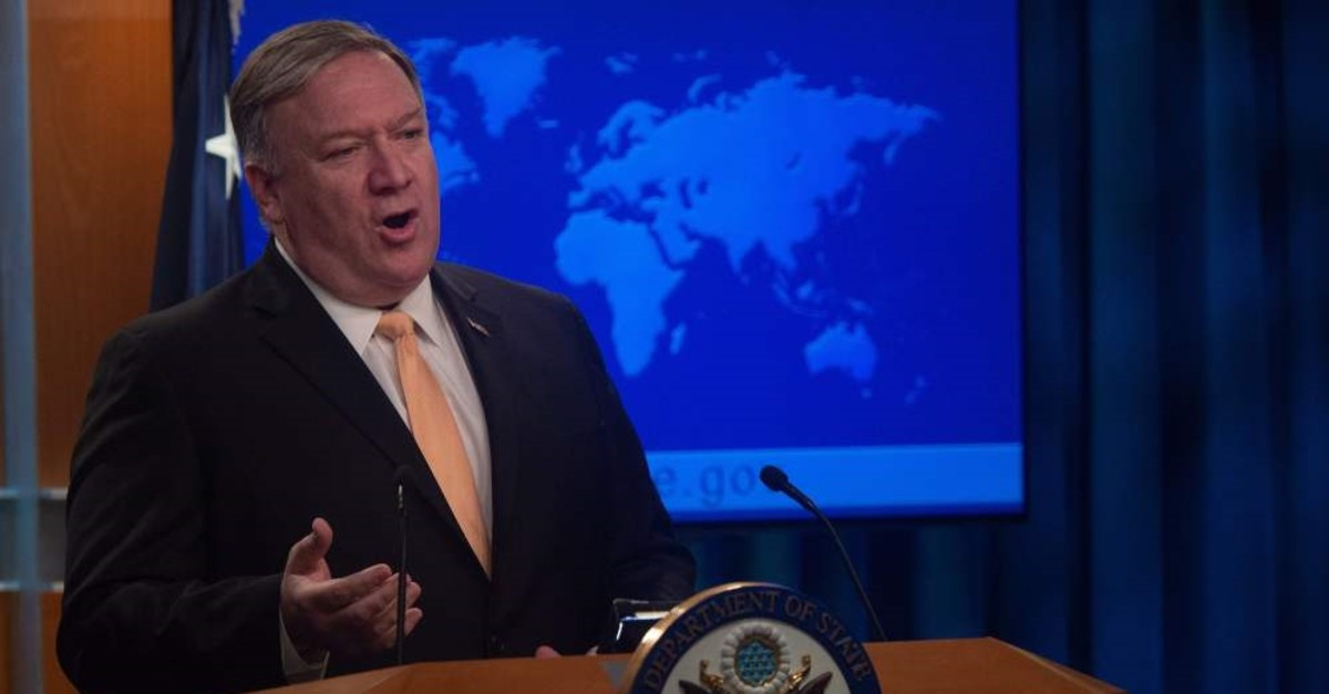 U.S. Secretary of State Mike Pompeo speaks during a press conference at the U.S. Department of State in Washington, D.C., April 22, 2019.