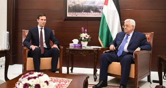 Jared Kushner with Palestinian Authority President Mahmoud Abbas (R), Aug. 24.