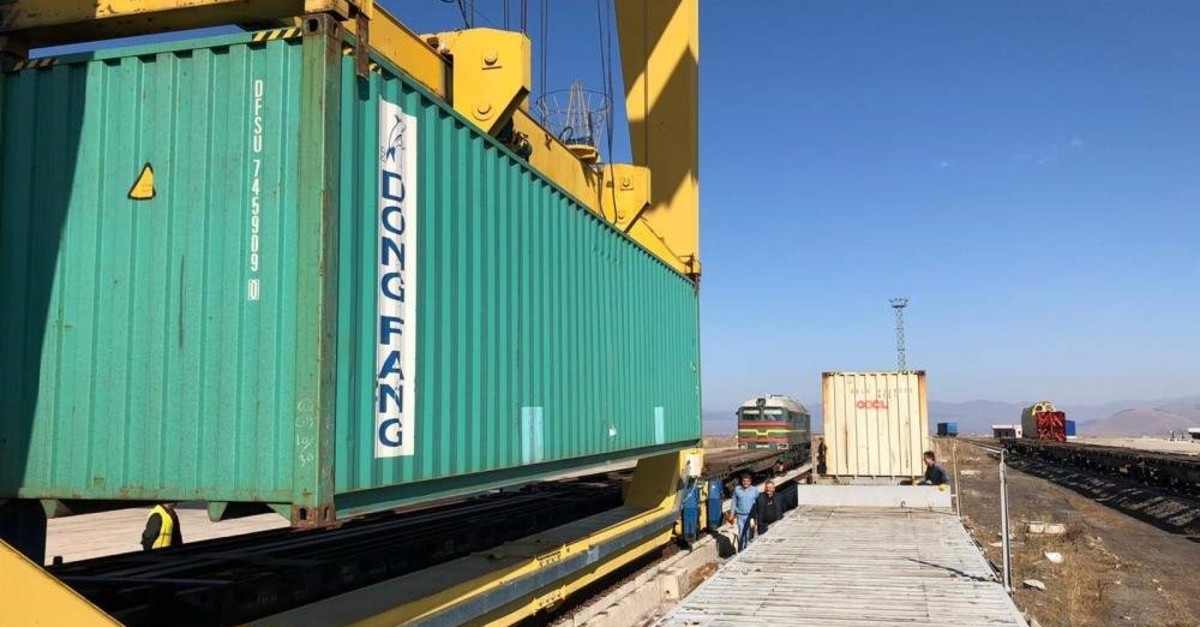 The first freight train from China entered Turkey in the eastern province of Kars on Nov. 3. (DHA Photo)