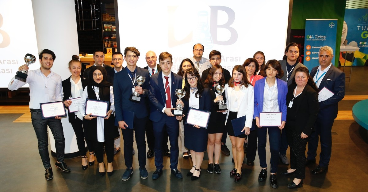 Winners of the Bayer Inter-High School Science Competition pose with their awards.