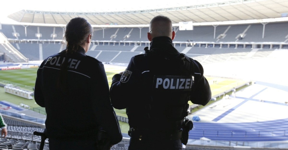 German police officers inspect stadium, before a match. (REUTERS Photo)