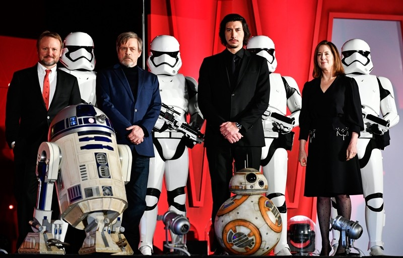 US actor and cast members Mark Hamill (2-L) and Adam Driver (2-R) poses on stage with US film director Rian Johnson (L) and US film producer Kathleen Kennedy during the red carpet event of the upcoming movie u2018Star Wars: The Last Jediu2019 (EPA Photo)