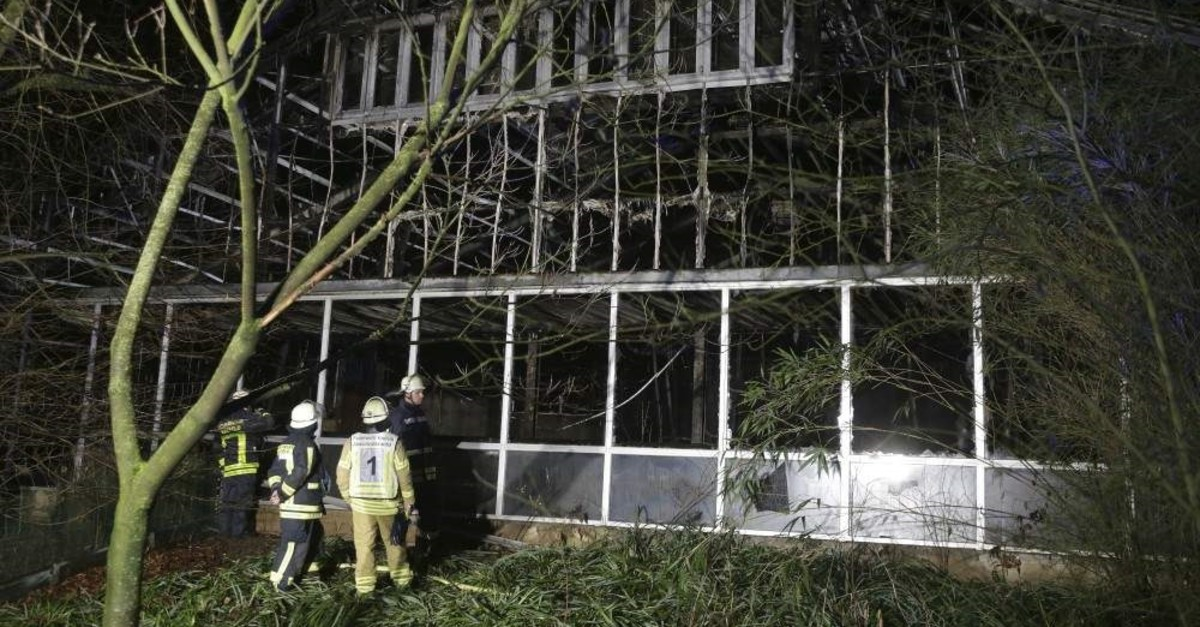 Firefighters stand in front of a burnt out animal house at the Krefeld Zoo in Krefeld, Germany, early Wednesday, Jan. 1, 2020. (AP Photo)