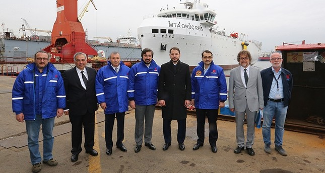 Energy and Natural Resources Minister Berat Albayrak (fourth from the right) conducted on site-examinations on the MTA Oruç Reis seismic vessel. (AA Photo)