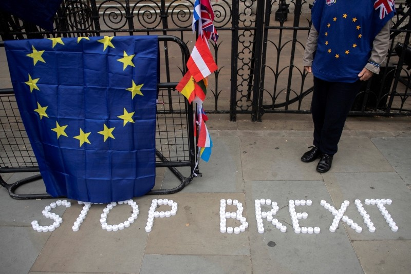 Anti-Brexit campaigners take part in a protest outside the High Court, London, 12 June 2018. (EPA Photo)