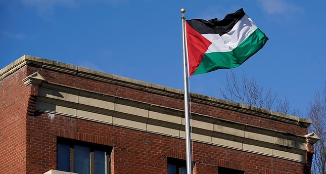 Palestinian flag waves at Palestine Liberation Organization (PLO) office in Washington, D.C., U.S., Nov. 19, 2017. (Reuters Photo)