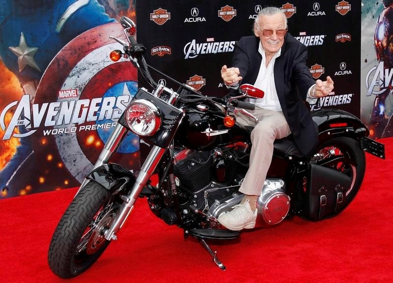 Comic book creator and executive producer Stan Lee poses on a motorcycle at the world premiere of the film ,Marvel's The Avengers, in Hollywood, California, in this April 11, 2012, file photo. (REUTERS Photo)