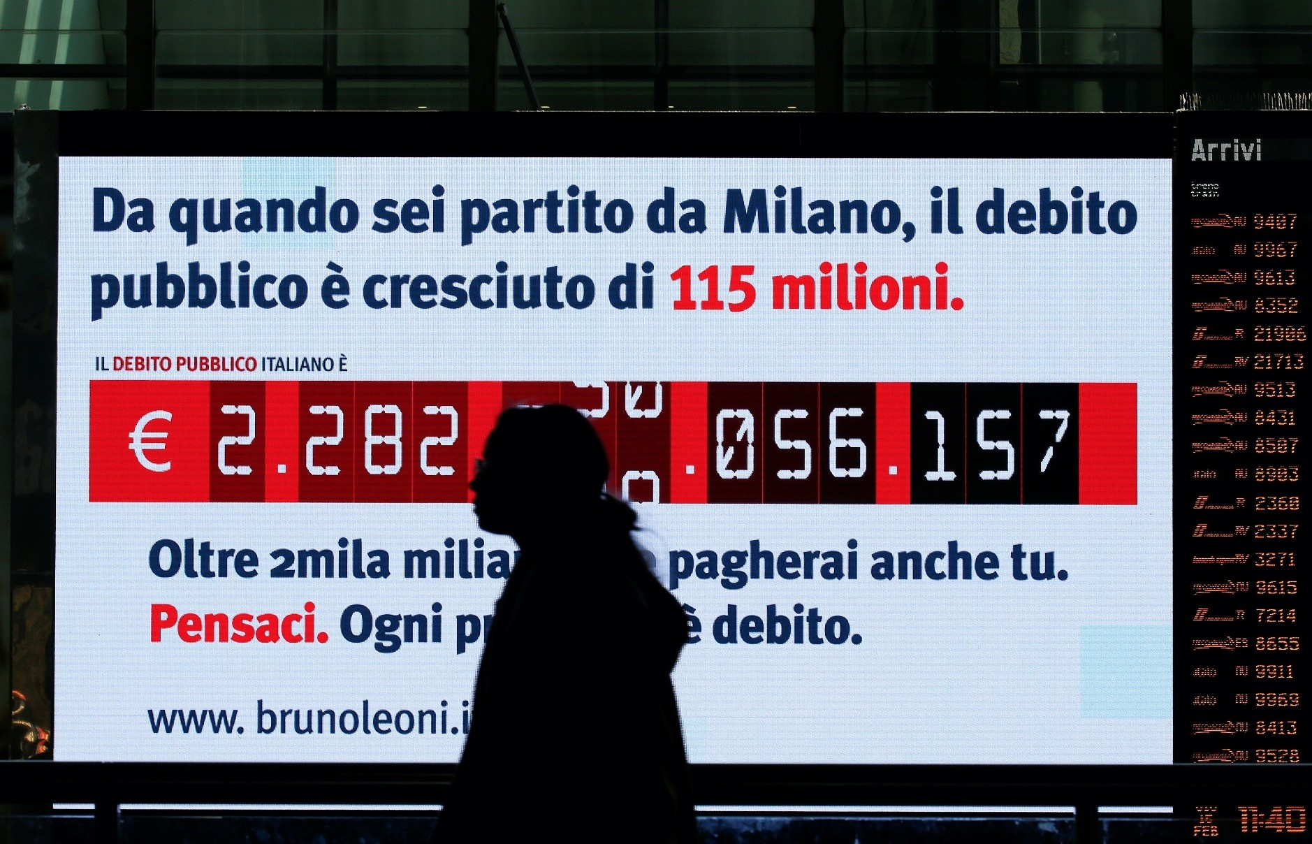 A woman walks past a debt clock screen  installed by Bruno Leoni Instituteu2019s analysts, displaying Italyu2019s public debt at the Termini Central Station, Rome, Feb. 15.