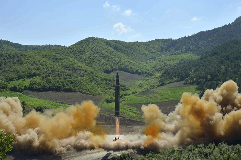 This July 4, 2017, file photo distributed by the North Korean government shows what was said to be the launch of a Hwasong-14 intercontinental ballistic missile, ICBM, in North Korea's northwest (AP Photo)