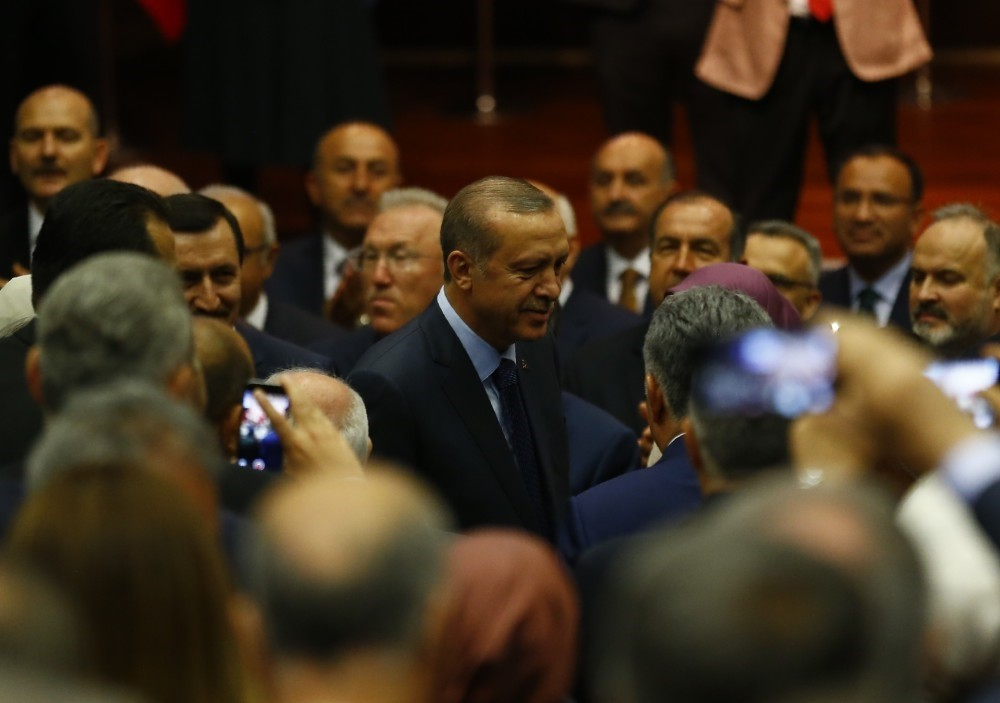 President Recep Tayyip Erdou011fan arriving at the AK Party's headquarters in Ankara, May 2.