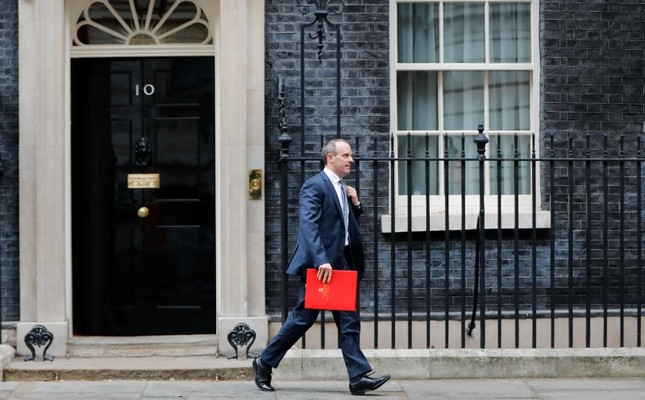 In this file photo taken on Nov. 06, 2018 Britain's Secretary of State for Exiting the European Union (Brexit Minister) Dominic Raab leaves after the weekly meeting of the cabinet at 10 Downing Street. (AFP Photo)