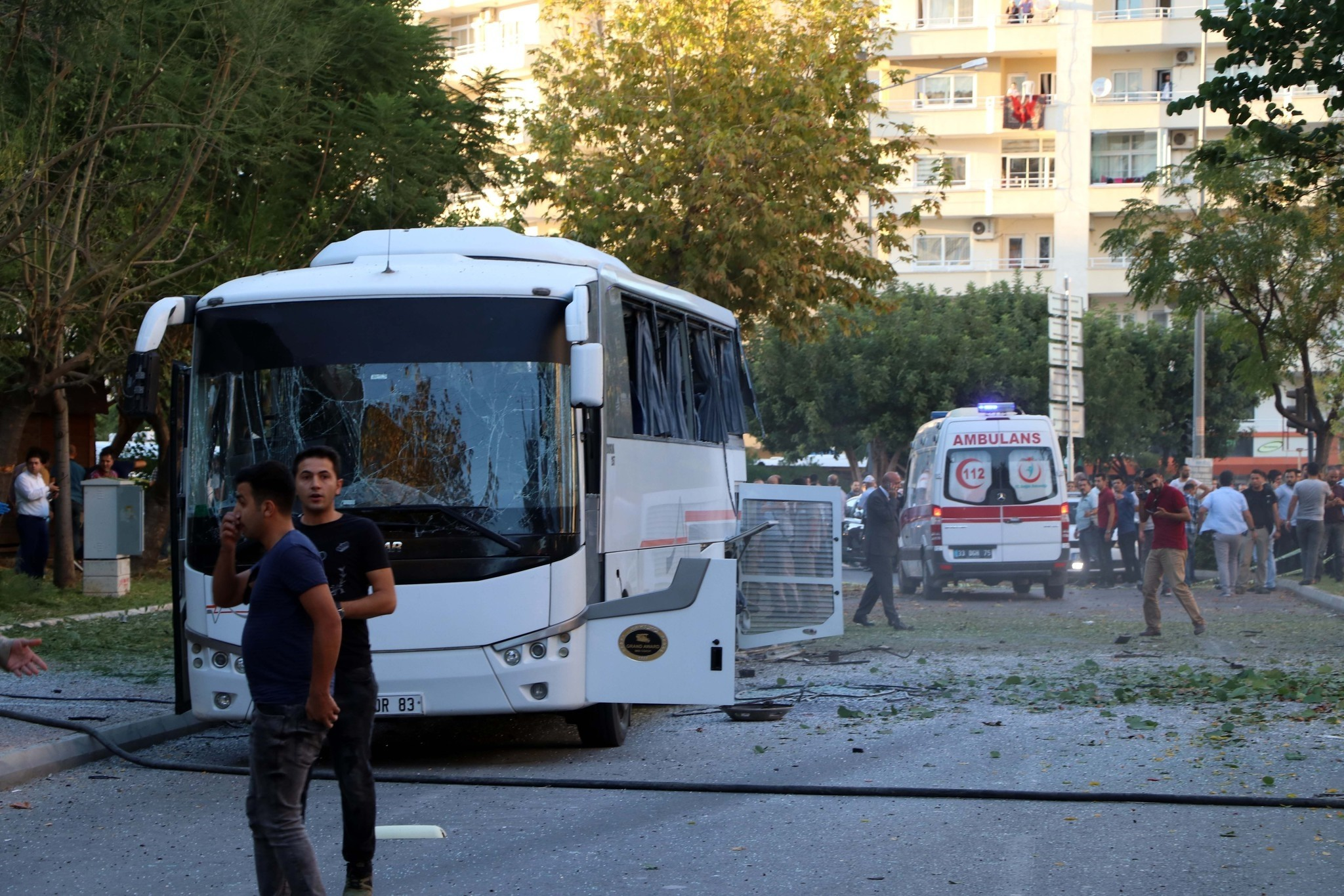 Photo shows the police shuttle bus that was targeted in the attack. (IHA Photo)