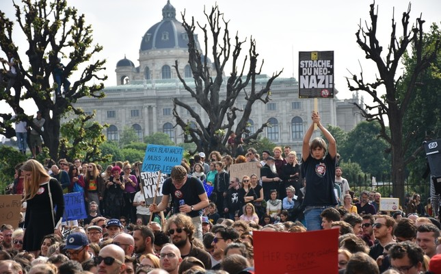 Demonstrators protest the controversial leaked footage of Heinz-Christian Strache, a leading politician of Austria's far-right Freedom Party (FPÖ) and call for snap elections, in the capital Vienna, May 18, 2019.