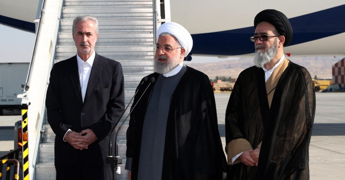 In this photo released by the official website of the office of the Iranian Presidency, President Hassan Rouhani speaks upon his arrival to Tabriz, East-Azerbaijan province, Iran, Aug. 1, 2019. (AFP Photo)