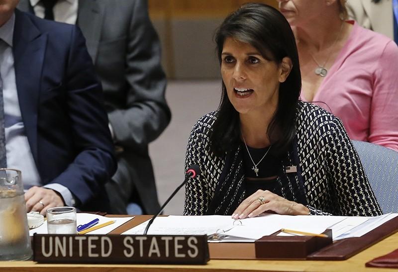 United Nations Ambassador from U.S. Nikki Haley address U.N. Security Council meeting on Myanmar's Rohingya crisis, Thursday Sept. 28, 2017 at U.N. headquarters. (AP Photo)