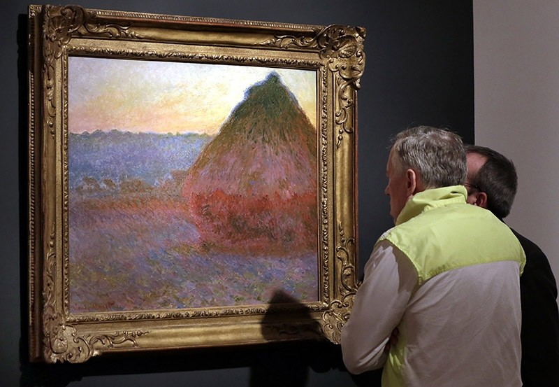 Claude Monet's ,Grainstack, is displayed at Christie's, in New York. (AP Photo)