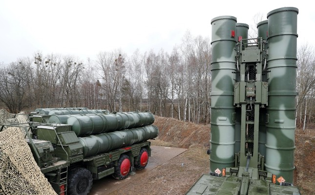 """A picture shows a new S-400 """"Triumph"""" surface-to-air missile system after its deployment at a military base outside the town of Gvardeysk near Kaliningrad, Russia, March 11, 2019."""