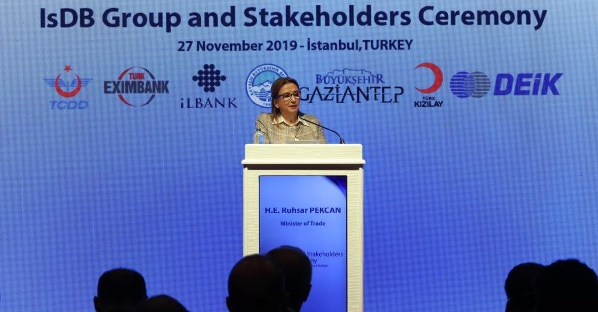 Trade Minister Ruhsar Pekcan speaks at the IsDB Group and Stakeholders Ceremony held on the sidelines of the 35th Ministerial Meeting of the Committee for Economic and Commercial Cooperation of the Organization of the Islamic Cooperation, Nov. 27, 2019. (AA Photo)