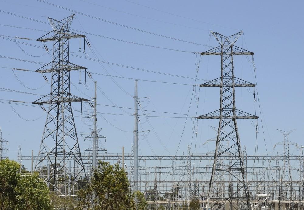 Powerlines run across a section near Brisbane.