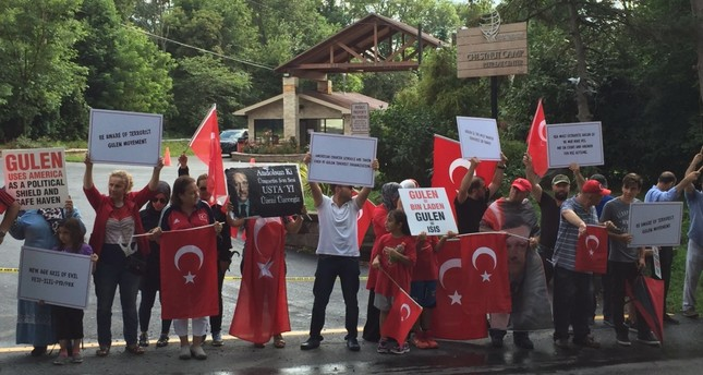 A group of activists rallied outside Gülen's compound in Pennsylvania earlier this month following July 15 coup attempt.