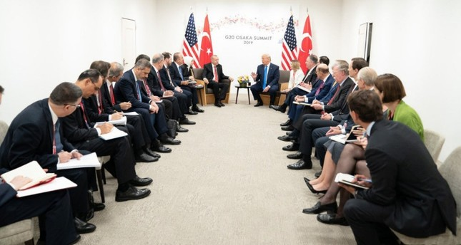 President Recep Tayyip Erdoğan and U.S. President Donald Trump and their delegations during a meeting on bilateral relations at the G20 summit, Osaka, Japan, June 29, 2019.