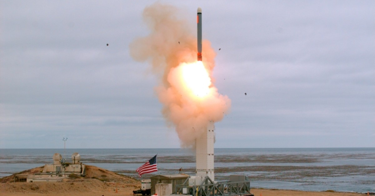 This Sunday, Aug. 18, 2019 photoprovided by the U.S. Defense Department shows the launch of a conventionally configured ground-launched cruise missile on San Nicolas Island off the coast of California (AP Photo)