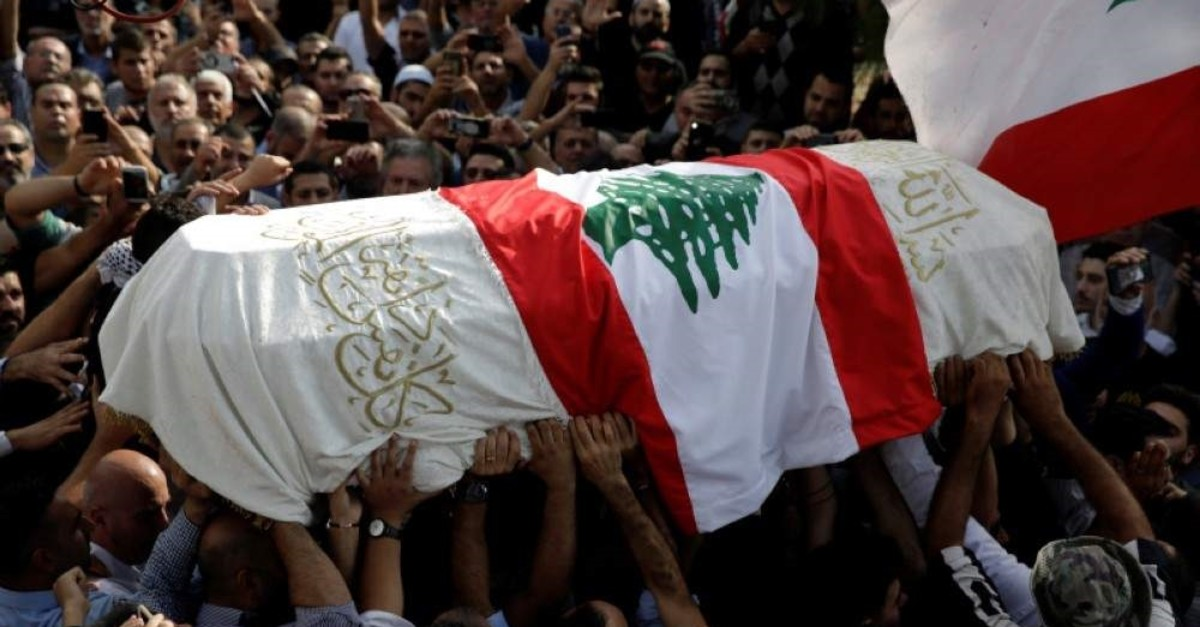 Mourners carry the coffin of Alaa Abou Fakher during the funeral in Choueifat, Lebanon November 14, 2019. (REUTERS Photo)