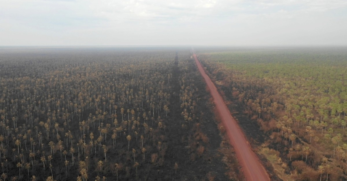 Aerial view of the damage caused by wildfires in Otuquis National Park, in the Pantanal ecoregion of southeastern Bolivia, on August 27, 2019. (AFP Photo)