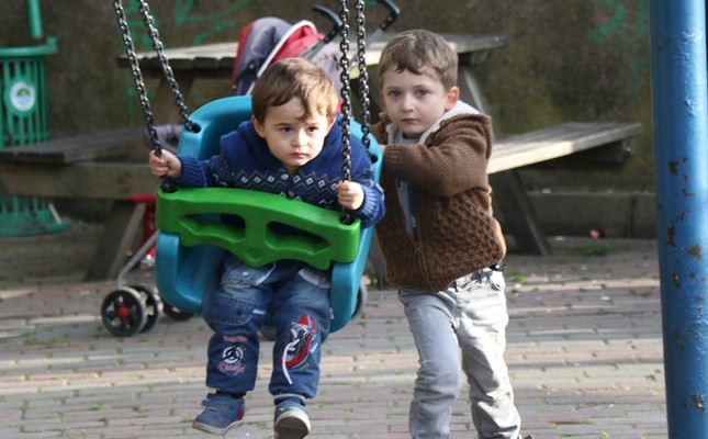 Children at a playground in the northern city of Zonguldak. The population of those below 18 has gradually been surpassed by the elderly in recent years in the country.