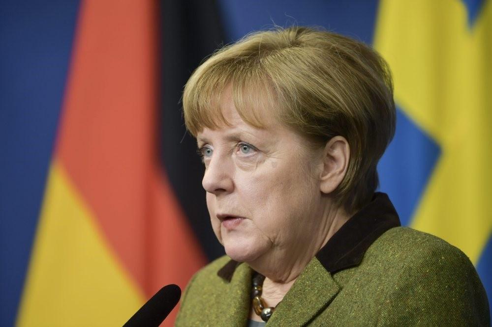German Chancellor Angela Merkel speaks during a news conference in Stockholm, Sweden, Jan. 31