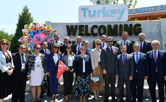 Trade Minister Ruhsar Pekcan and her delegation attend the opening ceremony of Turkey National Day held at the Turkish pavilion at EXPO 2019 Beijing, July 3, 2019.