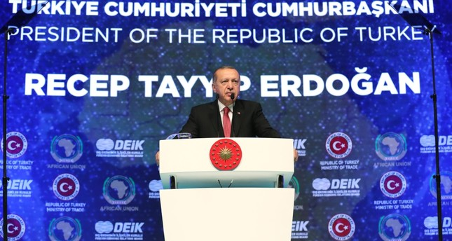 President Recep Tayyip Erdoğan speaks at the 2nd Turkey-Africa Economy and Business Forum in Istanbul, Oct. 10.