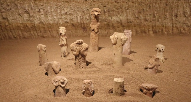 Figurines symbolizing gods and goddesses are on display at the Güray Museum in Nevşehir province.
