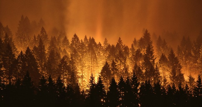 The Eagle Creek wildfire burning on the Oregon side of the Columbia River Gorge near Cascade Locks, Ore.
