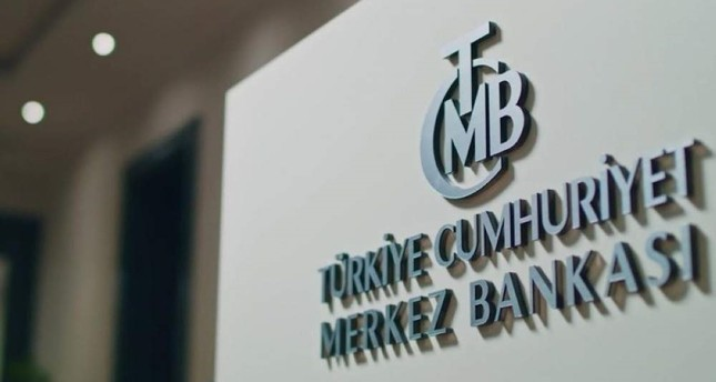 This file photo shows the logo of the Central Bank of Republic of Turkey CBRT inside its headquarters.