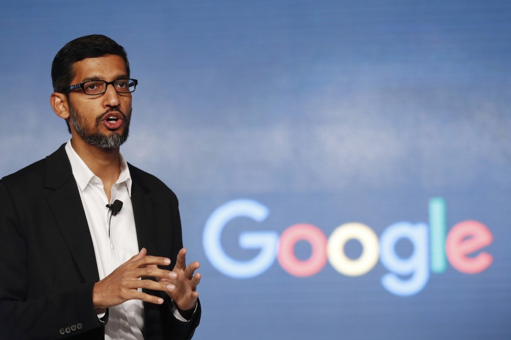 Google CEO Sundar Pichai speaks during a news conference on Googleu2019s collaboration with small scale local businesses in New Delhi.