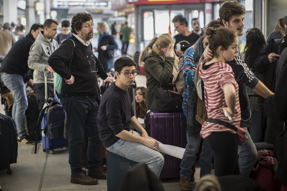 Stranded passengers wait for service at the airport Tegel in Berlin. Ground staff at the Berlin airports in Tegel and Schoenefeld went on strike demanding a raise of their hourly wages.