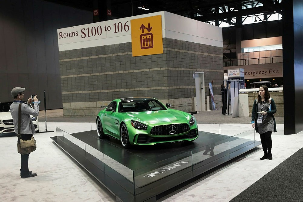 Mercedes Benz shows off a 2018 AMG GT R at the Chicago Auto Show on February 8, 2018.