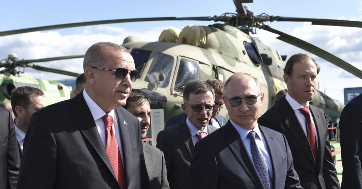 President Recep Tayyip Erdou011fan and Russian President Vladimir Putin (R) attend the MAKS-2019 International Aviation and Space Show in Zhukovsky, Moscow, Aug. 27, 2019.