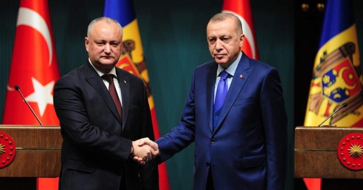 President Recep Tayyip Erdo?an and his Moldovan counterpart Igor Dodon hold a joint news conference in the Turkish capital Ankara on Dec. 30, 2019. (IHA Photo)
