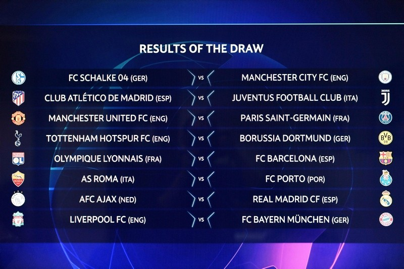 The group formations are shown on an electronic panel after the drawing of the games for the Champions League 2018/19 Round of 16, at the UEFA headquarters in Nyon, Switzerland, Monday, Dec. 17, 2018. (AFP Photo)