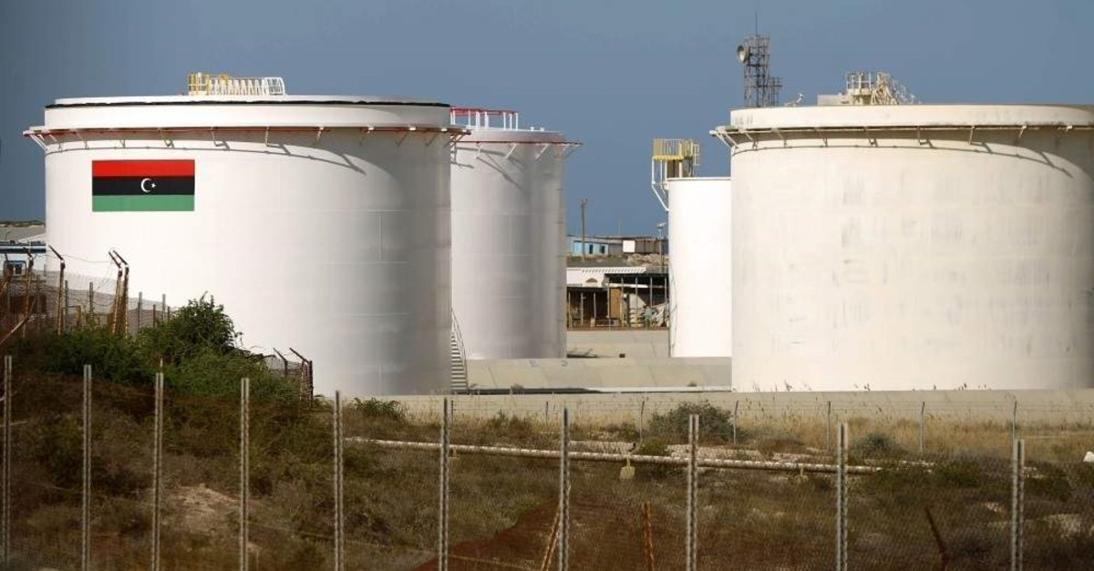 (FILES) This file photo taken on Jan. 12, 2017, shows a general view of an oil facility in the northern oil-rich Libyan town of al-Buraqah. Libya's oil production has plunged by around three-quarters since forces loyal to military strongman Khalifa Haftar launched a blockade a week ago, the National Oil Company announced. (AFP Photo)