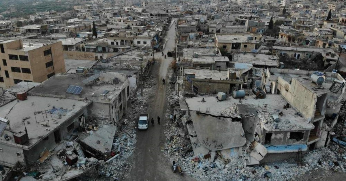 An aerial view shows the damage caused by the reported Syrian regime and Russian airstrikes in the town of Al-Bara in the south of Syria's Idlib province, Dec. 8, 2019. (AFP)