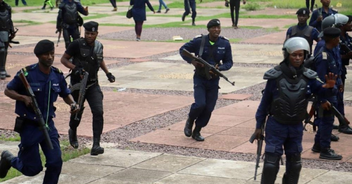 Congolese riot policemen gather to disperse supporters of Martin Fayulu, Jan. 12, 2019. (Reuters File Photo)