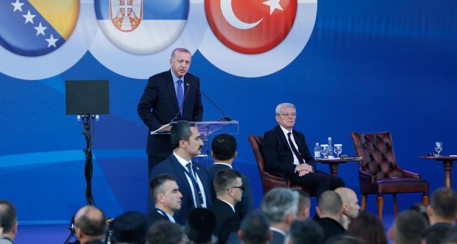 President Recep Tayyip Erdoğan delivers a speech at the groundbreaking ceremony of the Sarajevo-Belgrade highway project, Sremska Raca, Serbia, Oct. 8, 2019.