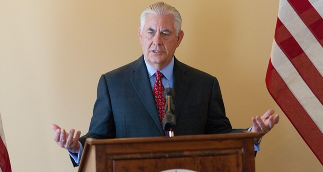 A handout photo made available by the United States Department of State shows U.S. Secretary of State Rex Tillerson speaking to members of the press in Manila, Philippines, August 7, 2017, on the sidelines of the ASEAN. (EPA Photo)