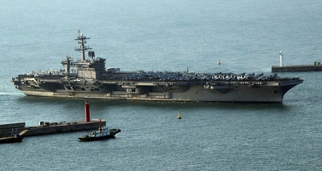 The USS Carl Vinson supercarrier arrives at a port in Busan, South Korea, March 15. (EPA Photo)
